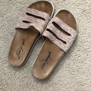 Free People Tan Beachy Sandals W/ Blue Side Detail